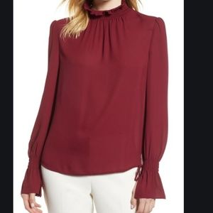 Vince Camuto Burgundy Smocked Neck Blouse